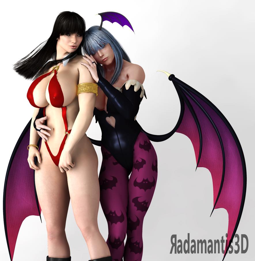 Vampirella and Morrigan by Radamantis3d