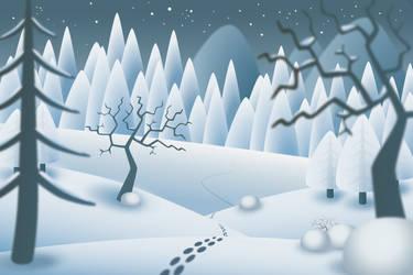 Snowy Christmas Landscape Illustration by Mottsei