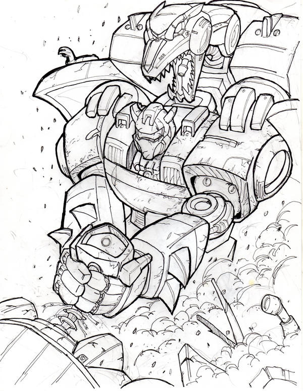Transformers fall of cybertron free colouring pages for Grimlock coloring page