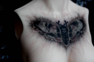 Old messy moth tattoo