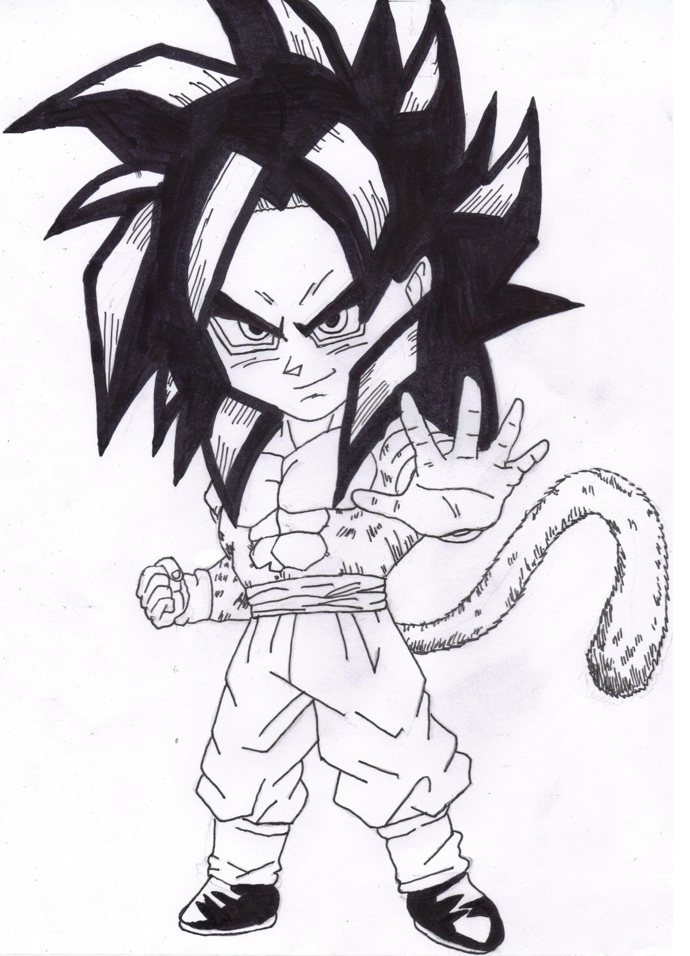 how to draw chibi goku ssj4