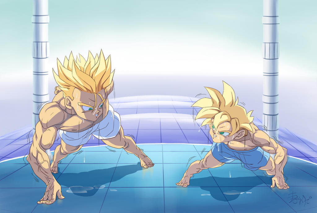 :Comission-Pushup competition/GohanXTrunks by WarlockMaster