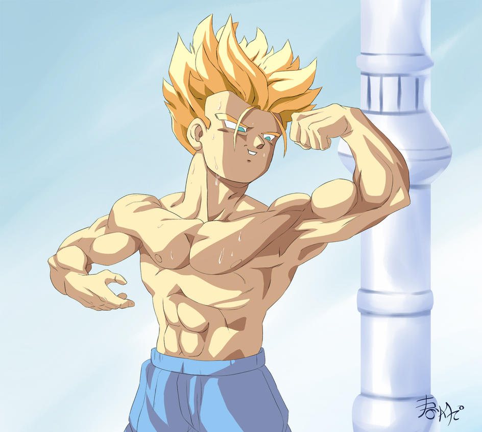 :Comission-Trunks Flexing hes muscles: by WarlockMaster