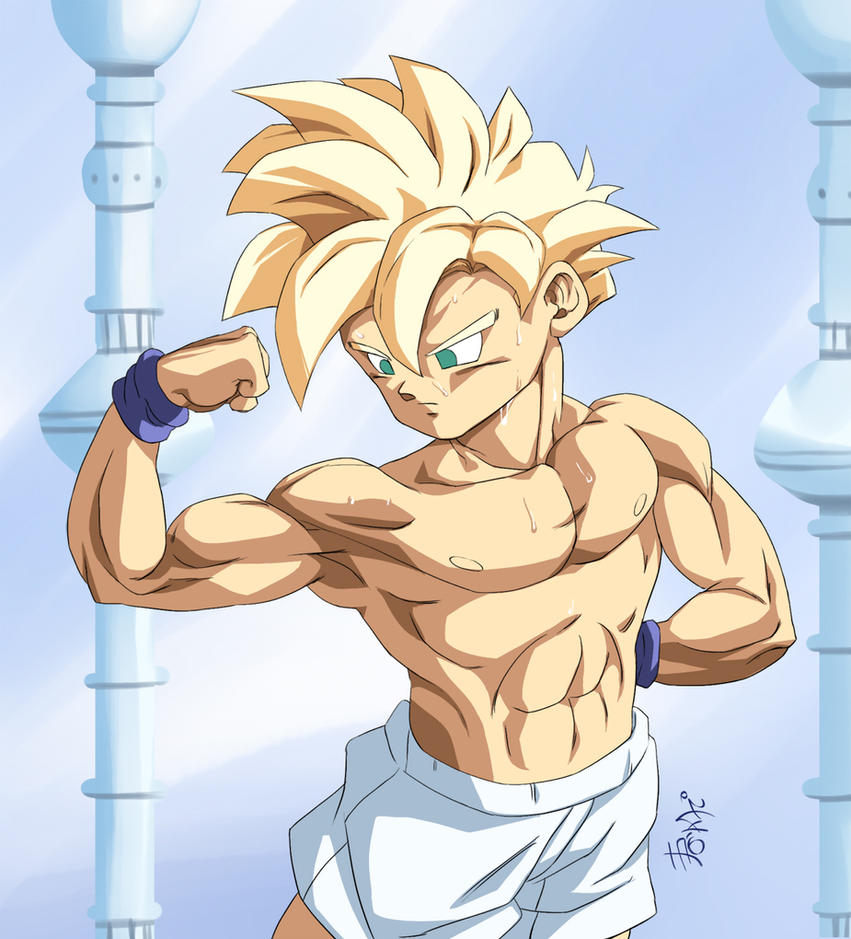 :Comission/Gohan flexing muscles by WarlockMaster