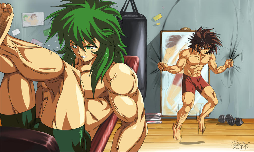 :Commission/Shun and Seiya Workout by WarlockMaster