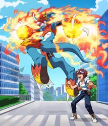 Digimon Tri-Daisuke and Flamedramon by PhantomStudio-Tommy