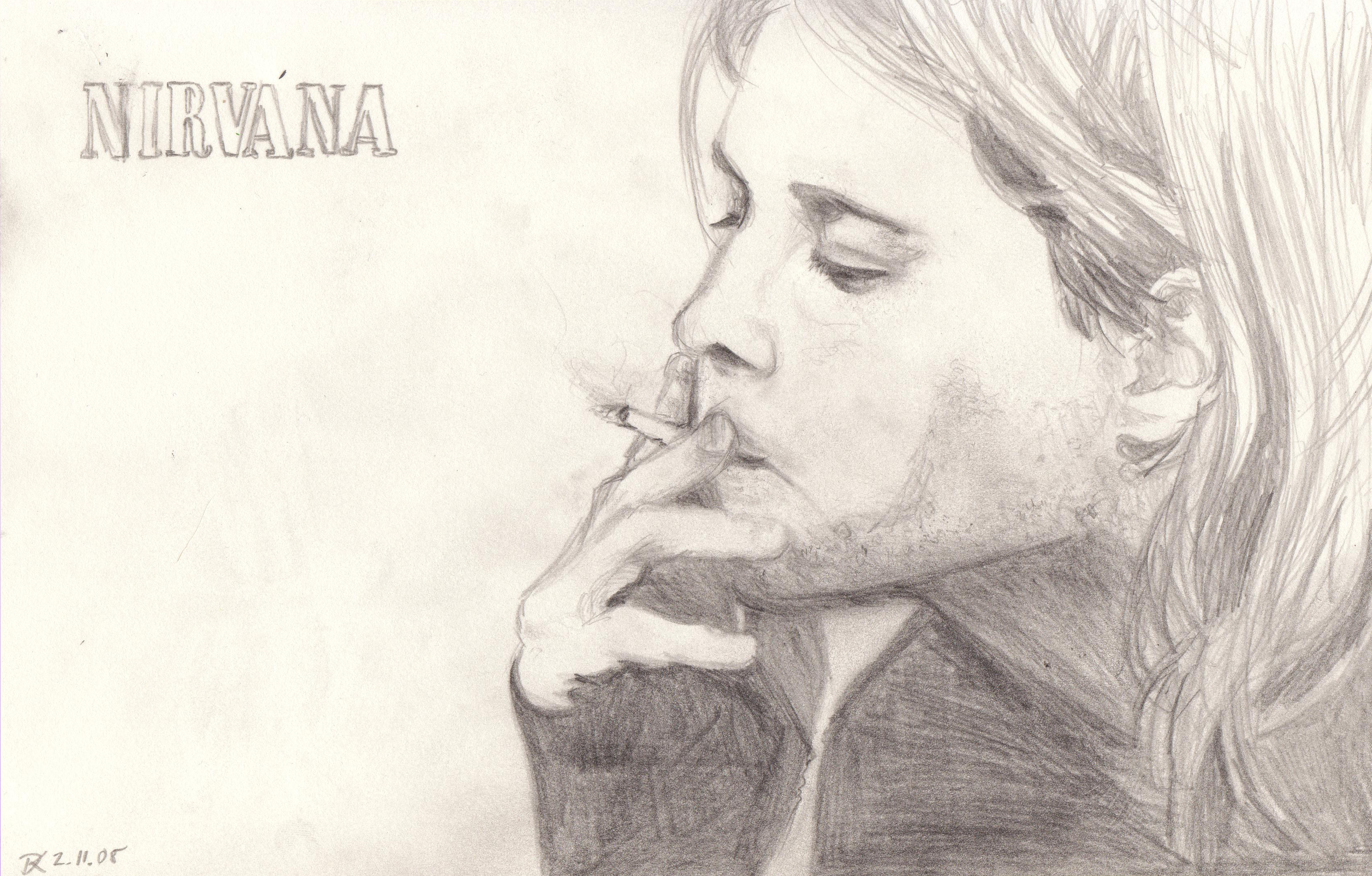It is an image of Bright Drawing Of Kurt Cobain