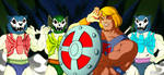 Three Terrors vs He-Man glowing by MikeBock