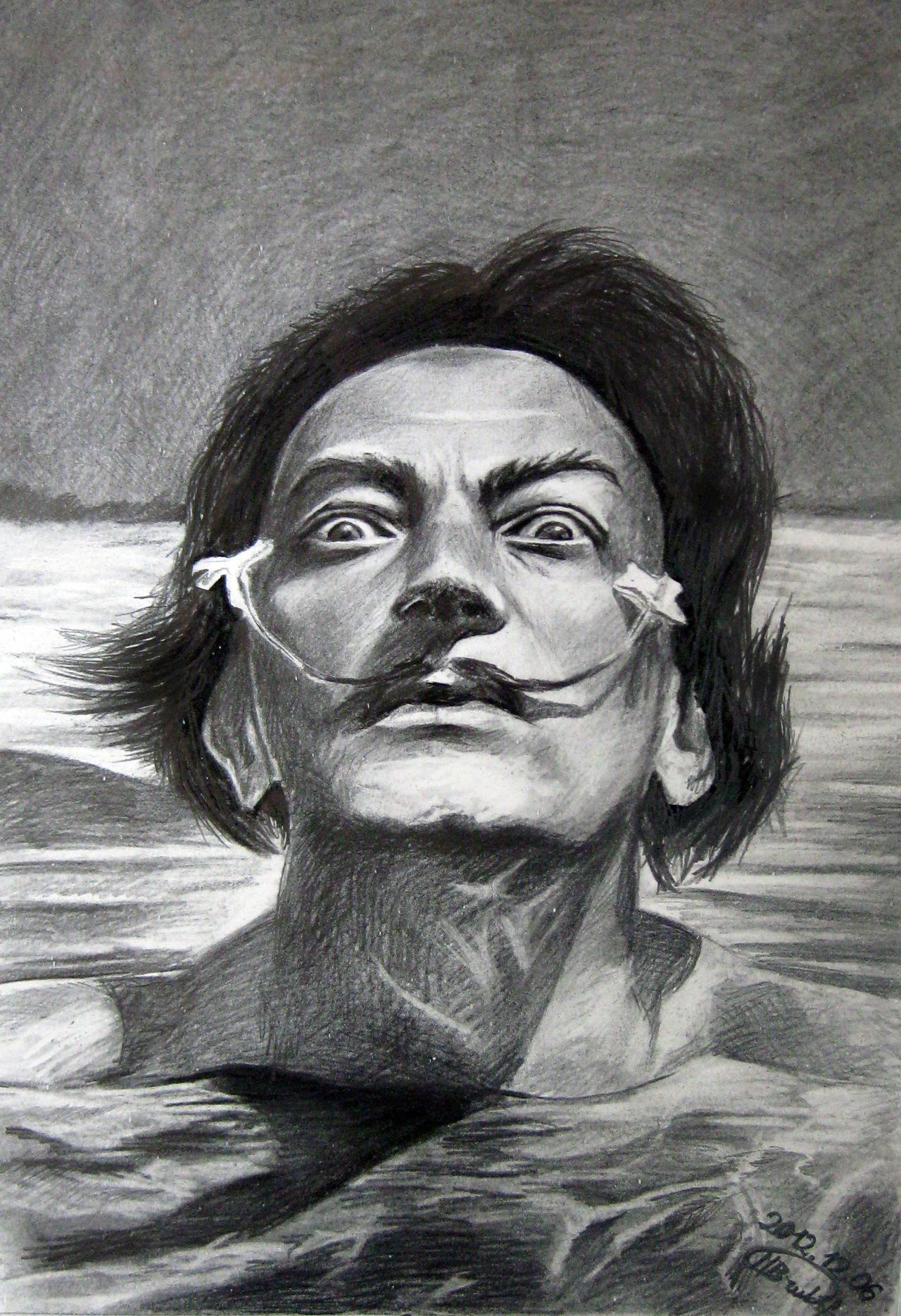 Salvador Dali Self Portrait Black And White 72734   BITNOTE