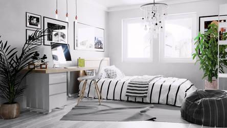 3DS Max Interior Render - Scandinavian Bedroom