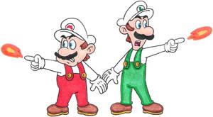 Fire Mario and Fire Luigi by nintendomaximus
