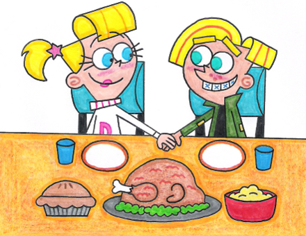 Chester and Veronica's Thanksgiving Dinner by nintendomaximus