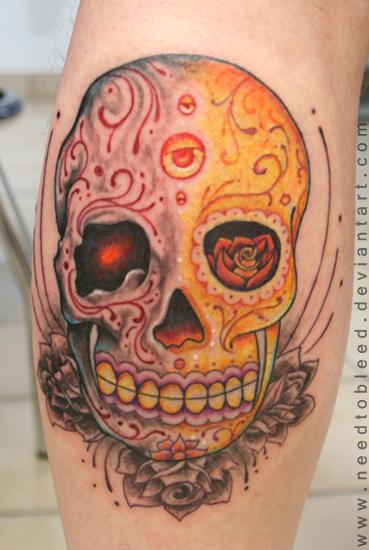 Dual skull by needtobleed on deviantart for Aztec tattoo shop phoenix az