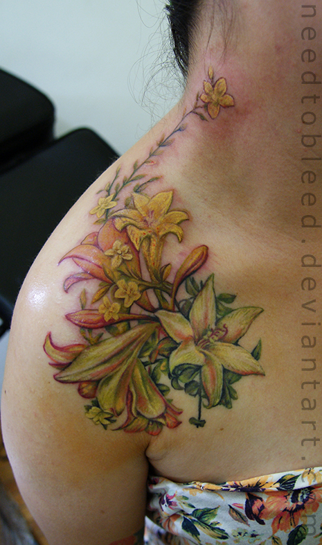 Flowers by benjamin otero by needtobleed on deviantart for Best sunscreen for tattoos reddit