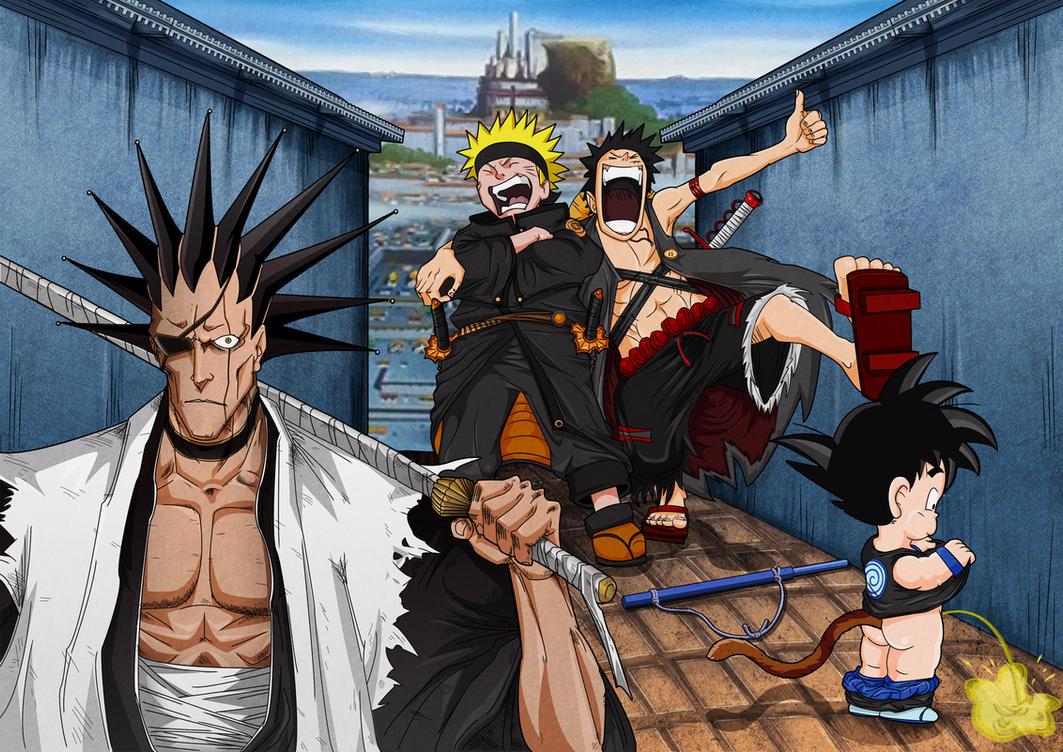 Goku In Naruto Costume & Naruto As Son Goku By Thei11