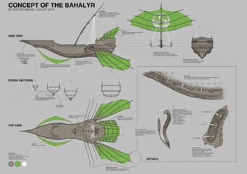 Concepting the Bahalyr (Old-Elvish flying Ship) by SteffenBrand