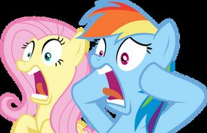 Fluttershy and Rainbow Dash Shocked by Spyro4287
