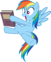 Happy Rainbow Dash Holding Book by Spyro4287