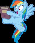 Happy Rainbow Dash Holding Book