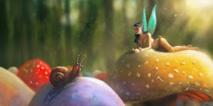 The fairy and the snail - Krita by gregoo23