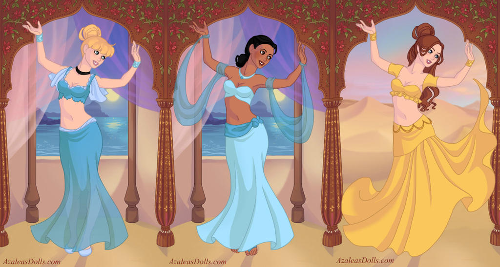 cinderella__tiana_and_belle_as_belly_dancers_by_sun711 d7o7ooc cinderella, tiana and belle as belly dancers by sun711 on deviantart