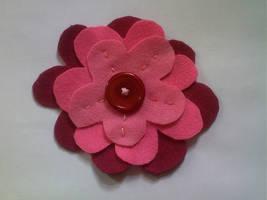 Pink Felt Flower Badge