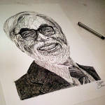Miyazaki (ink portrait)