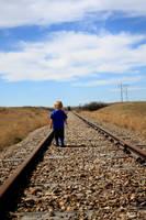 Stock image Boy on the tracks by mindym306