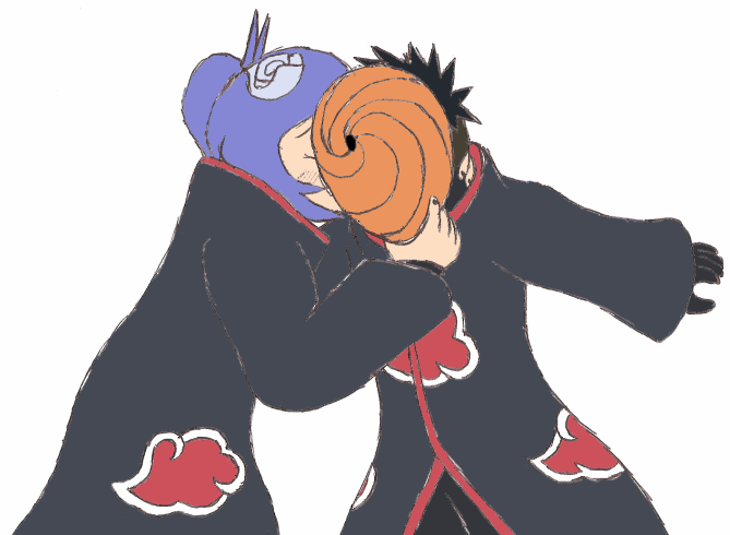Konan Kisses Tobi by Gaiash on DeviantArt
