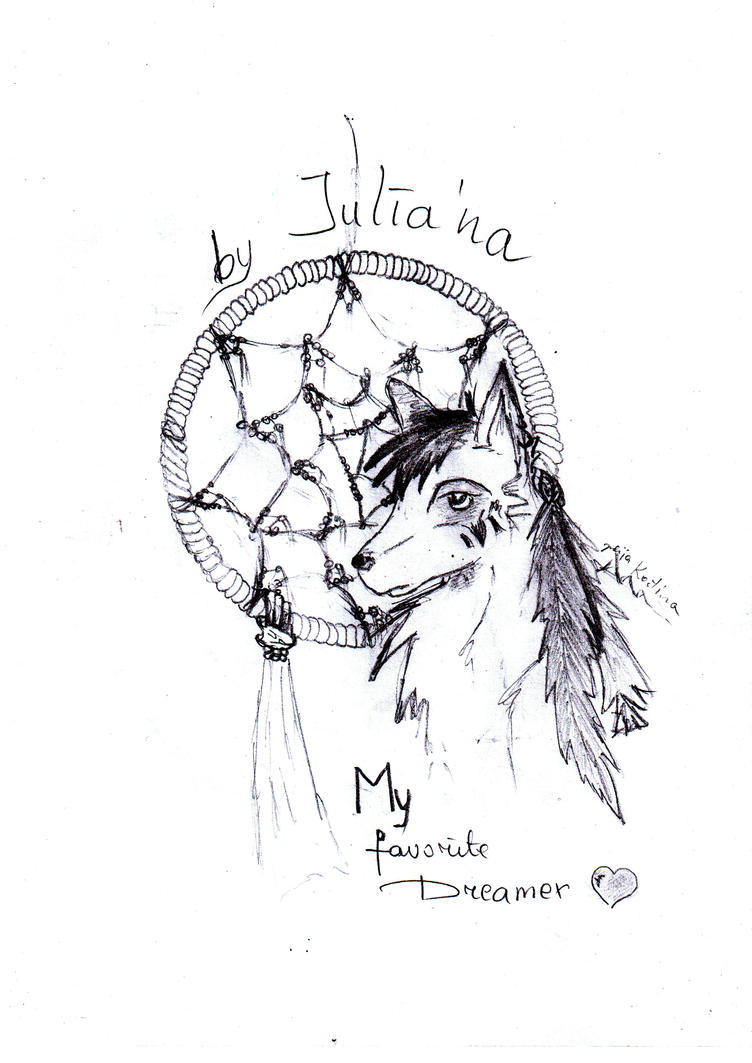 Wolf Dream Catchers Drawings Wolf with dream catche...