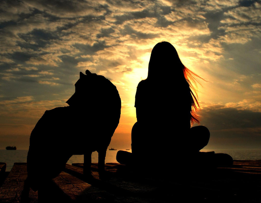 Mi cofre magico - Página 25 Wolf_and_girl_lookin__at_sunset_by_julianawolfe-d7t207g