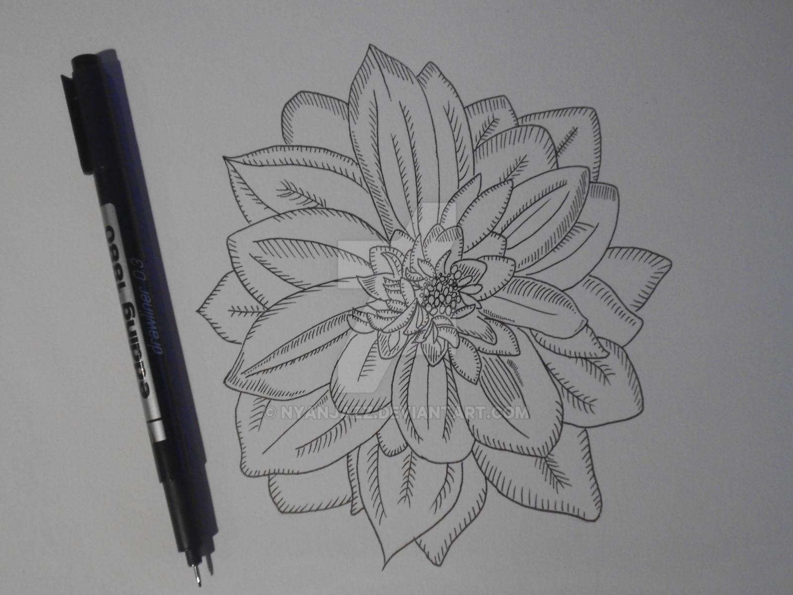 Traditional Flower Line Drawing : Flower fine liner art by nyanjazz on deviantart