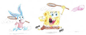 Spongebob and Buster Bunny Jellyfishing