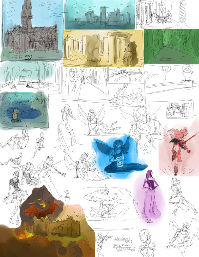 Gesture Drawings Ariel87-Stock by slyshand