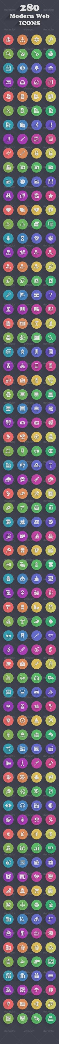 280 Modern Web Icons (7 Styles) by vuongthanhchung