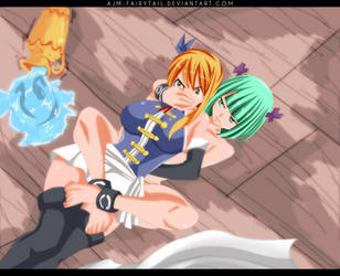 FairyTail 467 | Lucy and Brandish by AJM-FairyTail