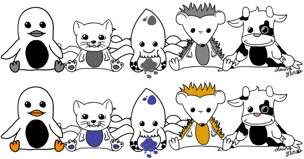 Moo Family Grayscale + Colors by lorikitty