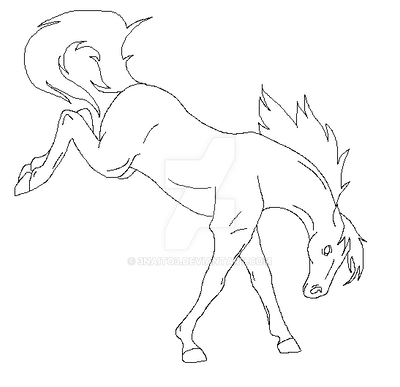 bucking horse lineart by 3naito3