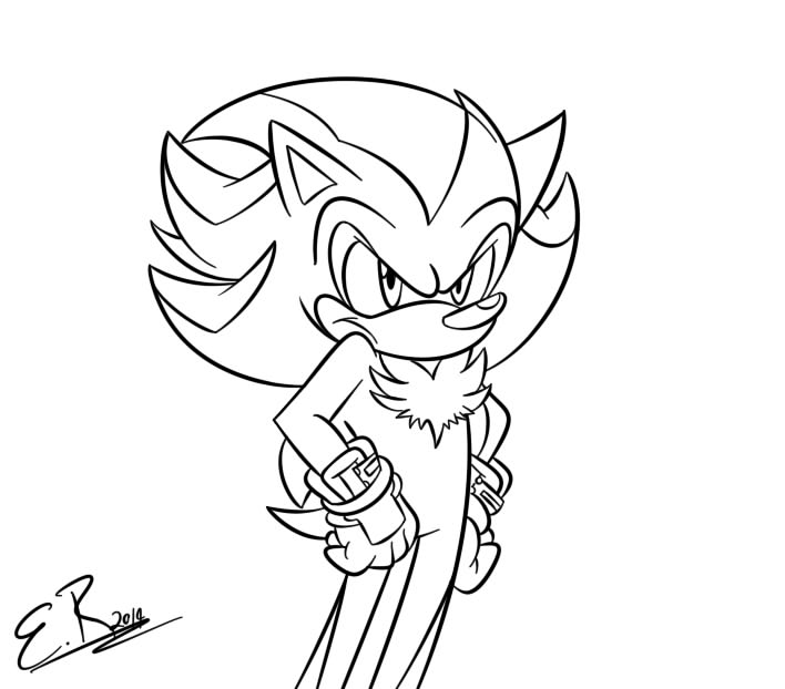 coloring pages of sonic and shadow - shadow in sonic boom lineart by shadow4one on deviantart