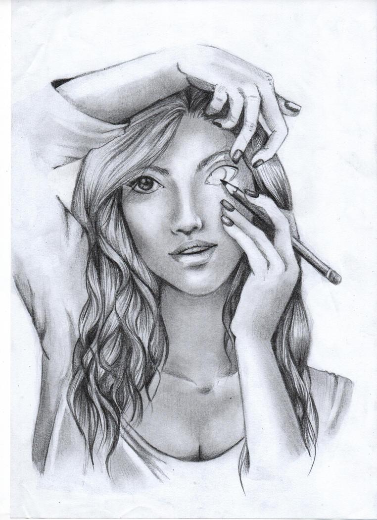 Girl Drawing Herself 2 By Mandorlamara On Deviantart