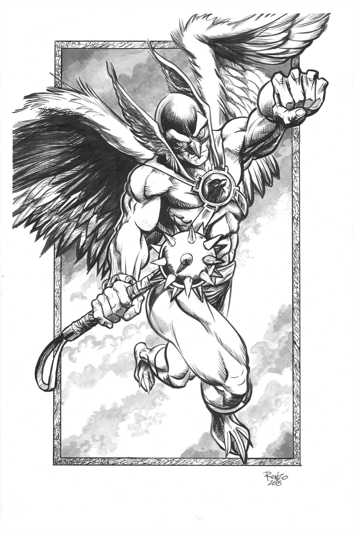 Hawkman BW by Renzo1991