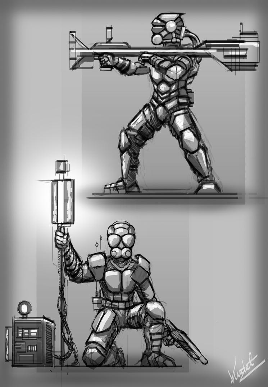 Space Marine sketches 14-11-6 by Kritzlof