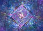 spirals in deep shallow blue fractal