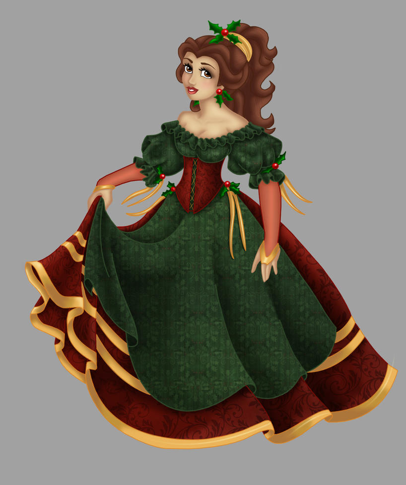 Belle . Christmas Dress by Opal-I on DeviantArt
