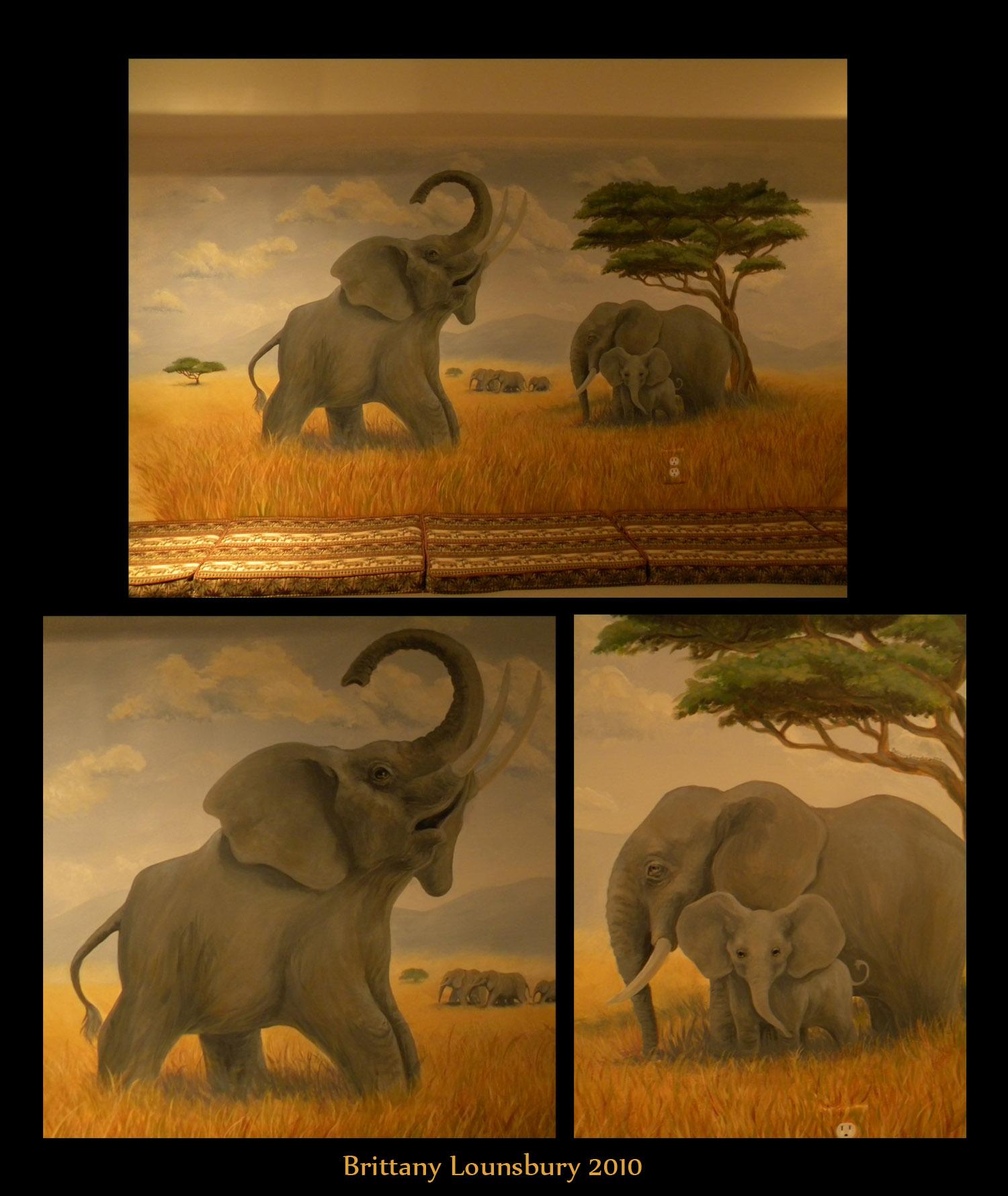 elephant mural by terrizae on deviantart. Black Bedroom Furniture Sets. Home Design Ideas
