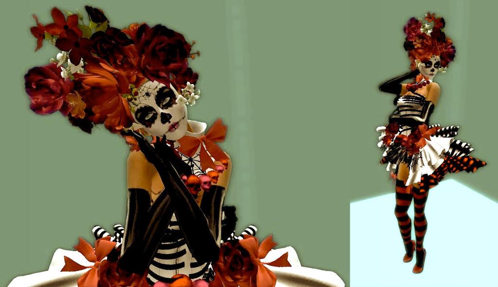 2557 second life candy skull halloween costume by brendapanda22