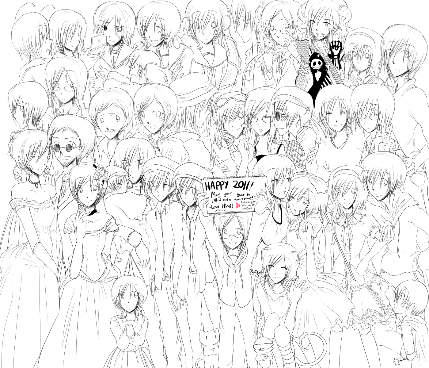 New Year S Line Art : Late new years lineart by himitsunotebook on deviantart