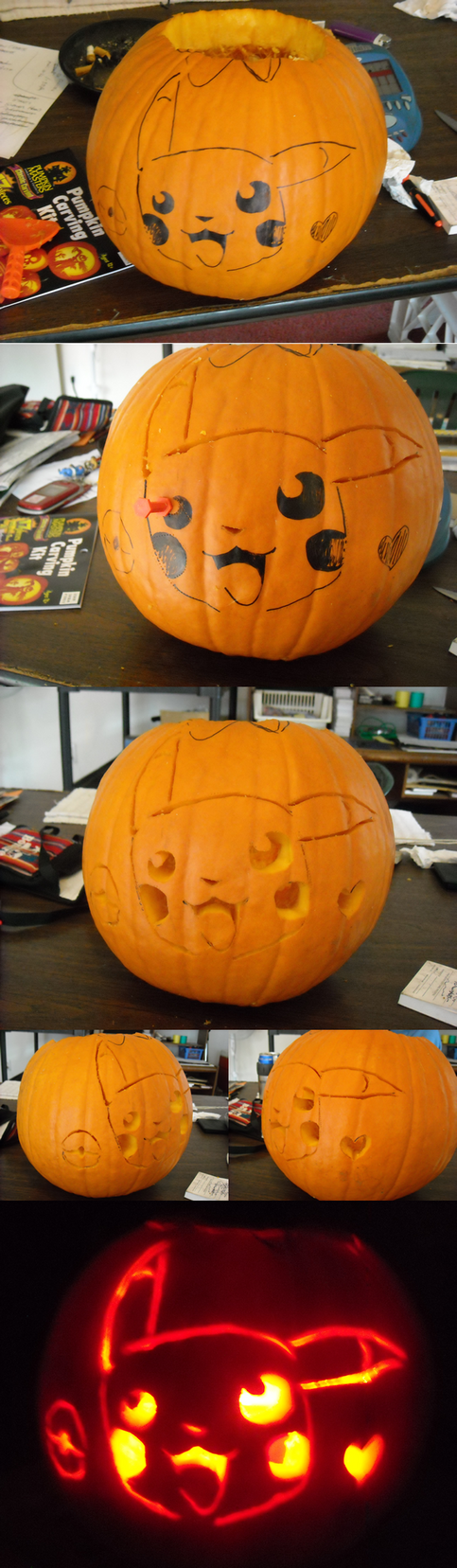 pokemon jack o lantern template - pikachu pumpkin by emotionlessblue on deviantart