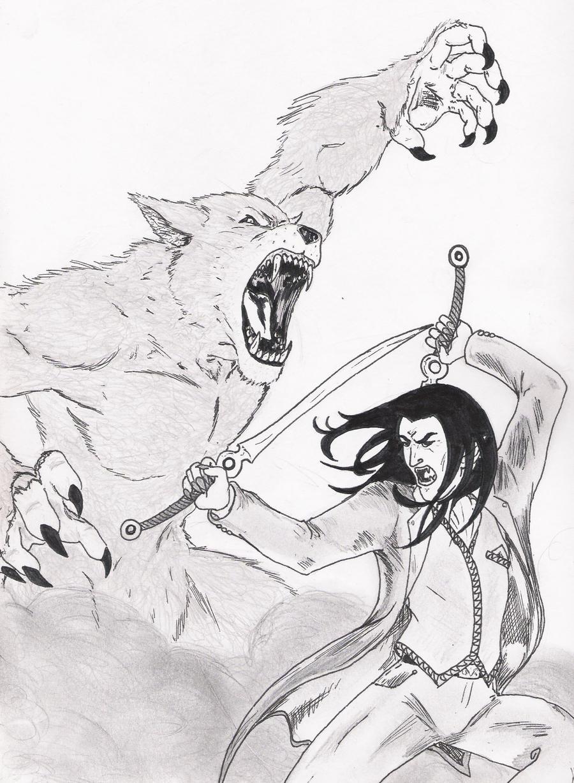 werewolf vs vampire drawings