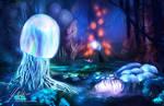 Mushroom forest at night